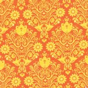 Moda On The Wing by Abi Hall - 4035 - Yellow Floral on Bright Orange - 35263 15 - Cotton Fabric